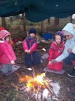 Campfires to keep warm in the outdoor learning environment!