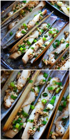 Razor Clam - garlic butter razor clams is one of the best razor clam recipes. Learn how to clean razor clam and cooking with this easy recipe. Best Razor Clam Recipe, Razor Clams Recipe, Clam Recipes, Seafood Recipes, Cooking Recipes, Cooking Ideas, Jamaican Recipes, Asian Recipes, Steamed Clams