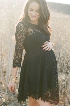 I had a similar maternity dress with Luke, and is still my favorite! Little black lace maternity dress for photo shoot Maternity Poses, Maternity Pictures, Maternity Wear, Maternity Dresses, Maternity Photography, Casual Maternity, Maxi Dresses, Party Dresses, Formal Dresses