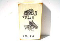 Mermaid Art Block Wood Sayings Believe Wood Card Mermaid Art Card Inspirational Card Mini Sign Custom Small Sign Sayings On Wood Art Card by BlackCrowCurios on Etsy