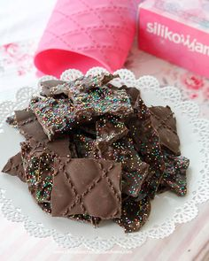 Crispy Chocolate Bark Candy-Just 2 ingredients-Rice Krispies Cereal and Chocolate Almond Bark, you won't believe how good this is until you make it yourself!