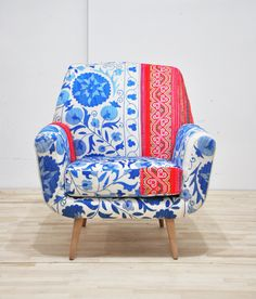 Vintage chair mixed with traditional fabrics