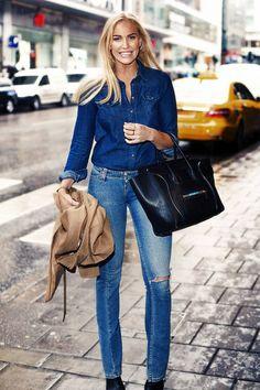 Navy Women's Denim Button Up #Denim Clothing #Petra Tungarden #Summer Trends #Women's Fashion Bloggers #Bloggers Best Of #Button Up Denim #Denim Button Up #Denim Button Up Navy #Denim Button Up Women's #Denim Button Up Outfit #Denim Button Up 2014 #Denim Button Up Looks #Denim Button Up What To Wear With