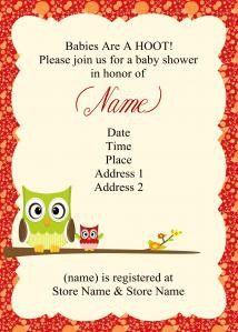 owl baby shower invitaions