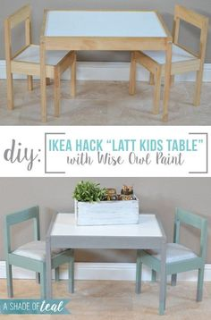 IKEA Hack- Latt Kids Table Makeover | A Shade Of Teal #DecoratingIdeasForKidsRooms