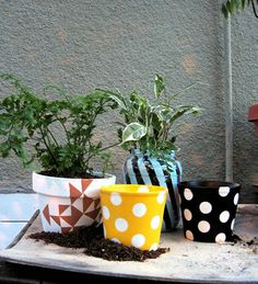 DIY garden pots! Cute!