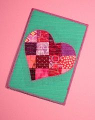 Patchwork Heart Fabric Postcard by Lisa Ruble for Pellon Projects #pellon #pellonprojects #wonderunder #batting