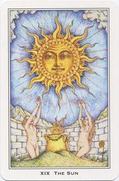 The Sun ~ Nigel Jackson Tarot  Van feléd egy tanácsom: fogd vissza magad ... valójában mértéktelen vagy ... emberek bálványa, Nap. The Sun Tarot Card, The Moon Tarot, Tarot Major Arcana, Love Tarot, Sun Moon Stars, Tarot Card Meanings, Sun Art, Oracle Cards, Tarot Decks