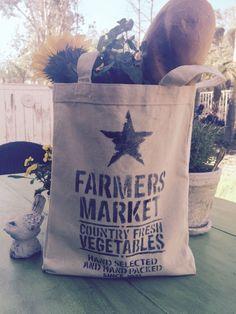 Farmers Market Canvas Tote Bag/Farmhouse/Rustic by MarCostaMarket on Etsy https://www.etsy.com/listing/269624709/farmers-market-canvas-tote