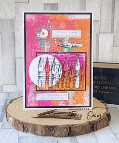 """Mixed media card using Tracy Evans Border Stamp """"Knibs and Mushrooms"""" from AALLandCreate. Painting Collage, Collage Art, Painting Abstract, Acrylic Paintings, Paper Art, Paper Crafts, Card Crafts, Mixed Media Cards, Turquoise Painting"""