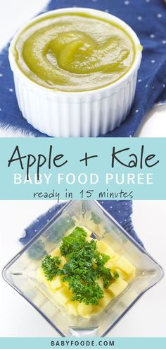 Apple + Kale Baby Puree This smooth and sweet Apple and Kale Baby Baby Food Puree is a fun and easy way to introduce mighty kale to your little one! This easy stage 1 puree r. Baby Puree Recipes, Pureed Food Recipes, Healthy Recipes, Baby Food Recipes Stage 1, Baby Food By Age, Food Baby, 7 Month Old Baby Food, Sweet Potato Baby Food, Apple Baby Food