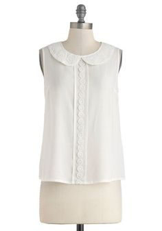 Charming Companion Top - White, Solid, Peter Pan Collar, Work, Daytime Party, Vintage Inspired, Sleeveless, Sheer, Mid-length, Collared, Summer