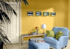 Charmant Farbgestaltung Für Ein Wohnzimmer In Den Wandfarben: Gelb/Blau/Grün