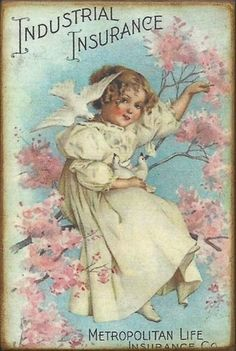 Vintage Trade Card - girl with doves in tree with blossoms
