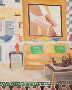 """A beautiful day in Chelsea and the perfect time to visit our #gallery. Discover the works of Lottie Cole in her solo #exhibition 'Living with art - Collector's Interiors"""".  View more works and download your exclusive exhibition catalogue via link in image.  ________________ Lottie Cole Interior with Sandra Blow and Elisabeth Frink Table Sculpture Signed Oil on canvas 59 1/8 x 47 1/4 in 150 x 120 cms (LC080) ________________"""