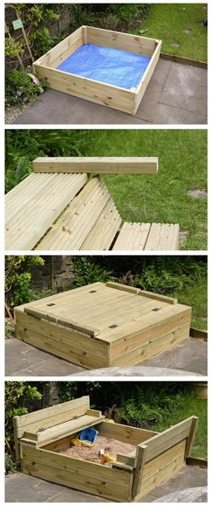 Easy DIY wooden sandpit with fold out benches made with decking boards and a sheet of tarpaulin.