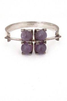 Elis Kauppi for Kupittaan Kulta, Finland - vintage silver rolling amethysts bracelet