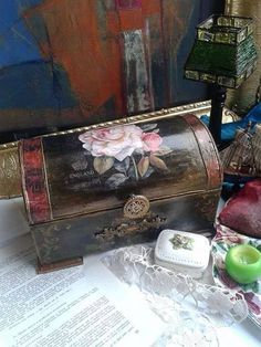 Gorgeous trunk by Decoupage Chic.