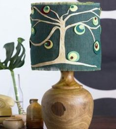 DIY Wood lamp with tree-themed lampshade