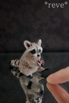 Miniature Raccoon * Handmade Sculpture * by ReveMiniatures.deviantart.com on @deviantART