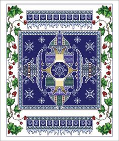 Vickery Collection Celtic January - Cross Stitch Pattern. Model stitched on 16 Ct. White Aida with DMC floss. Stitch Count: 160x200