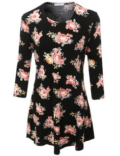 LE3NO Womens Plus Size Loose Floral Print with Slight Peplum 3/4 Sleeve Top (CLEARANCE)