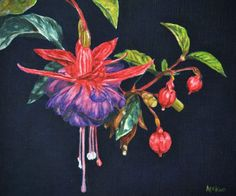 FINEARTSEEN - Well dressed by Afekwo. A beautiful original oil painting of fuscia blooms. This floral painting is available on FineArtSeen - The Home Of Original Art. Enjoy Free Delivery with every order. << Pin For Later >> Botanical Art, Well Dressed, Flower Art, Free Delivery, Original Art, Bloom, Oil, Floral, Artwork