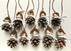 "Christmas Decorations – ""Waldwichtel"" Tree Decorations Set of 10 – a unique product by Emb … - Christmas Crafts Diy Autumn Crafts, Nature Crafts, Holiday Crafts, Pine Cone Art, Pine Cone Crafts, Pine Cone Decorations, Christmas Decorations, Christmas Ornaments, Kids Christmas"