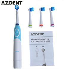 1 Unidades AZDENT Reemplazo cepillo de Dientes Eléctrico con 4 Cabezas de Cepillo de Dientes Para Blanquear Los Dientes Dente Rotación de Higiene Oral cepillo de Dientes