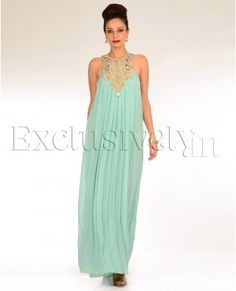 SEA GREEN LONG GOWN WITH EMBELLISHED YOKE