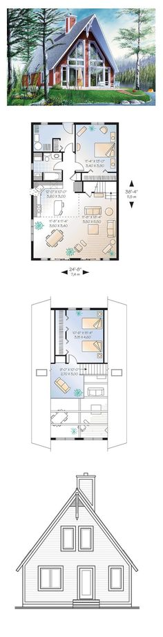 A-Frame House Plan 65010 | Total Living Area: 1304 sq. ft., 2 bedrooms and 1 bathroom. Ceilings with timber details greet you in this two-bedroom c… …