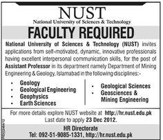 #PakJobs Jobs in Isb Job in NUST.. Professors Required...