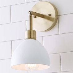 This Young House Love super functional Dapper Wall Sconce has an arm which can be adjusted up and down. Available with a Brushed Brass, Bronze or Chrome backplate with fun shade choices of White, Bronze, Brushed Brass or Chrome. Over Sink Lighting, Vanity Lighting, Wall Sconce Lighting, Bathroom Sconces, Modern Wall Sconces, Bathroom Wall, Modern Bathroom, Small Bathroom, Bathroom Grey