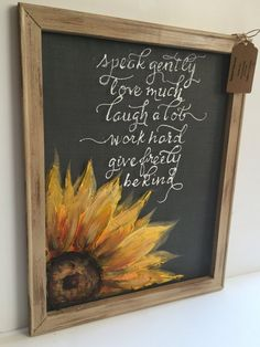 Inspirational quote and sunflower by RebecaFlottArts on Etsy