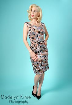 Priscilla Adare Silk Dress in Asian Floral - Designed and produced here in Los Angeles by our friend Audrey K, the Priscilla Adare Dress is a lightweight wiggle with flattering v-shaped necklines in front and back.  Made in a silk blend with tie belt, back zip, and sexy back slit for comfort.