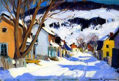 Village Street, Bair-saint-paul Artwork By Clarence Gagnon Oil Painting & Art Prints On Canvas For Sale Canadian Painters, Canadian Artists, Clarence Gagnon, Baie St Paul, Quebec, Of Montreal, Oil Painting Reproductions, Winter Art, Objet D'art