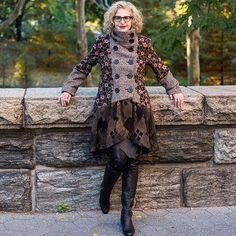 Mixed fabric coat by @anren Photo by @dentontaylor #40plusstyle #mixedfabrics #fashion #nyc #coats