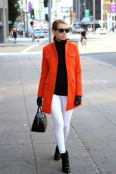 Bright Fall/ Winter Look - Orange coat over white skinny jeans