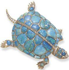 Rare Antique Opal Diamond Turtle Pin