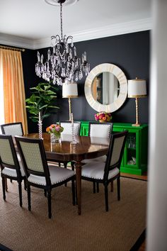 A kelly green console: http://www.stylemepretty.com//living/2015/03/14/25-ways-to-work-green-into-your-home/