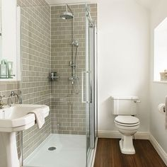 This en suite shower room has been given a retro look with metro tiles and classic bathroom fittings. Loft Bathroom, Bathroom Grey, Ensuite Bathrooms, Upstairs Bathrooms, Downstairs Bathroom, Bathroom Renos, Small Bathroom, Bathroom Ideas, Classic Bathroom