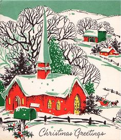 Church scene in red and green.
