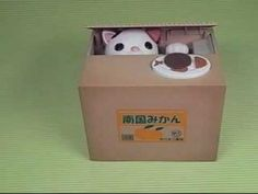 Fuzzy Wuzzy Itazura Steal Money Kitty Mechanical Novelty Coin Bank - The Gadget Experience