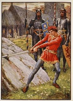 Arthur draws the Sword from the Stone, frontispiece 'Stories of the Knights of the Round Table' by Henry Gilbert, first edition, 1911 by Walter Crane
