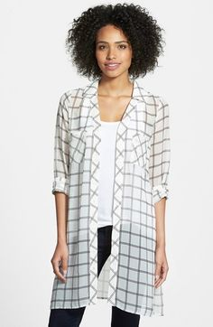 Pleione Plaid Chiffon Tunic available at #Nordstrom