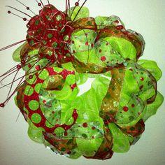 Holiday Wreath/mesh wreath | Deco Mesh Christmas Wreath | wreaths