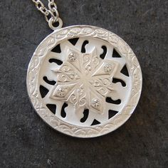 Silver Sapphire Gothic Tracery Pendant by Wearable by Design on Etsy