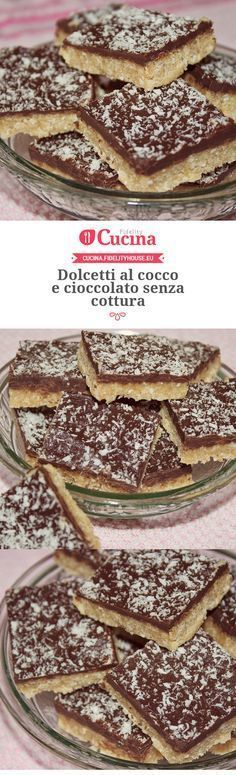 Dolcetti al cocco e cioccolato senza cottura. I don't know what this really is bc I can't read that language but it looks good ) Italian Cake, Italian Desserts, Italian Recipes, Italian Meals, Torta Angel, Sweet Recipes, Cake Recipes, Nutella, Kenwood Cooking