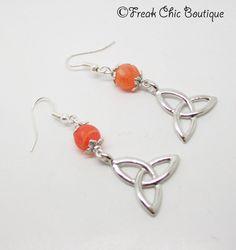 Triquetra earrings , Dragons Fire Agate, Celtic Earrings, Celtic Jewelry, dragon vein agate, red orange fire agate by freakchicboutique on Etsy