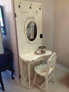 A door a mirror a small table and a chair. And what do you get ? This beauty. Love it.